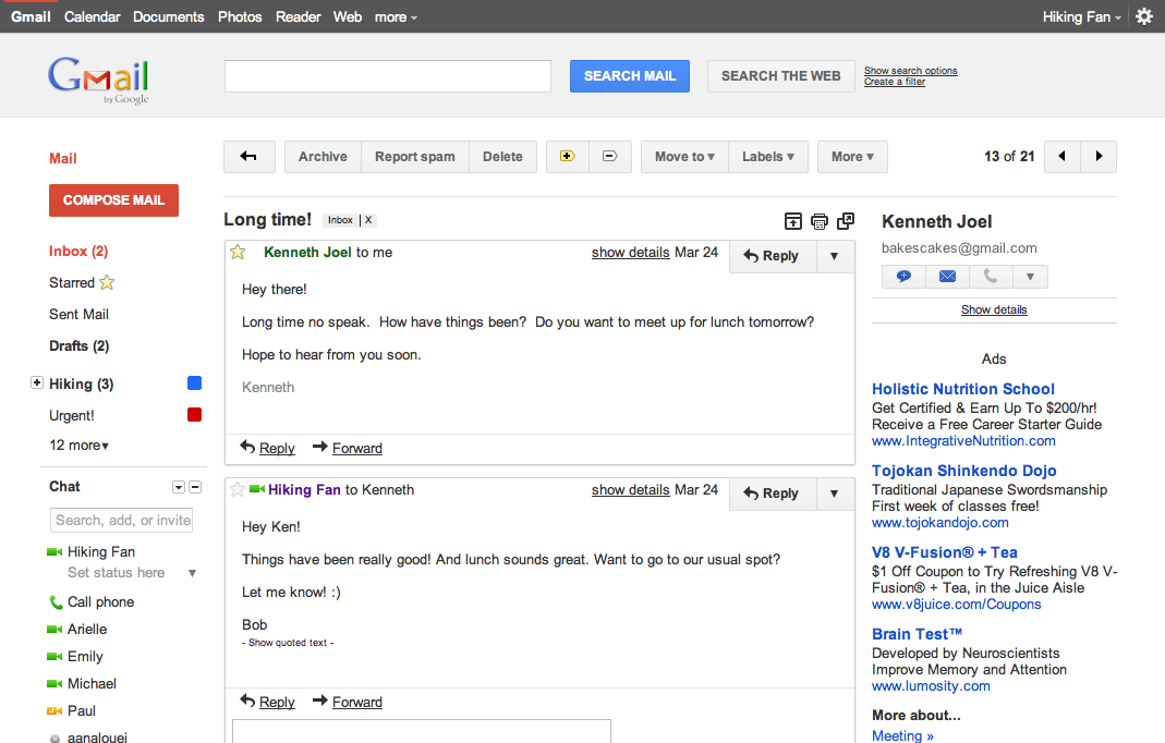 A group of mails viewed as a conversation