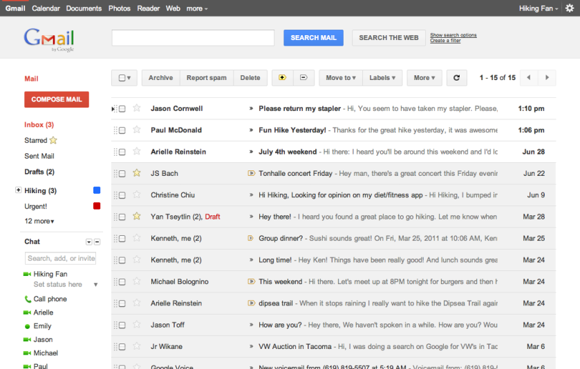 Viewing the Inbox in Gmail's new theme